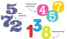 Schöne Zahlen zum Gestalten einer Geburtstagseinladung!