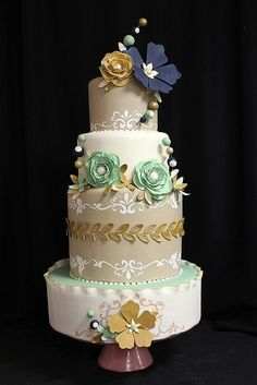 Gold Bubble Flower Wedding Cake