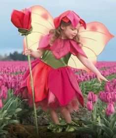 tulip flower fairy girls costume