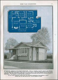 The Daily Bungalow A history of the way we were in images from the period. 1900 to 1960 Images. Cottages And Bungalows, Vintage House Plans, Small House Plans, Kit Homes, Old Houses, Planer, Tiny House, Floor Plans, Exterior