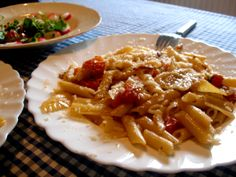 penne and lasagne pasta, fennel, tomatoes, pancetta, garlic, a small onion, pepper, salt, olive oil, parmigiano reggiano