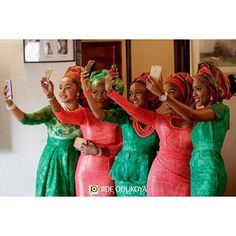 In Nigerian culture, families and friends often wear similar fabric at cultural celebrations to show unity and support. At traditional weddings, the women whom the bride chooses to wear aso-ebi can… Nigerian Culture, Nigerian Traditional Wedding, Traditional Weddings, African American Weddings, Nigerian Weddings, Nigerian Bride, African Dress, African Clothes, African Attire
