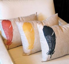 Feather Throw Pillow by NightByrd