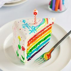 Rainbow Doodle Cake by Sweetapolita - Yummy layercake w/ fondant covered buttercream icing, doodled on with food color markers.  Great idea to let kids decorate their own (or siblings') cake!