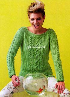 Пуловер реглан с аранским узором. | ,
