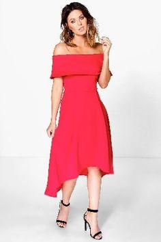 0b03f979087  boohoo Off The Shoulder Dip Hem Skater Dress - red  Pared back day dresses