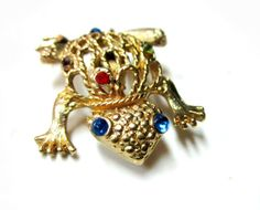 Vintage Rhinestone Frog Brooch Pin by SoBejeweled on Etsy, $20.00
