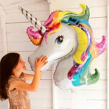 baby shower favor birthday party children unicorn balloon decor rainbow 2018 new party supplies wedding child big shower(China)