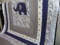 Elephant Crib Quilt  Gray and Purple with a Satin by QuiltingThyme