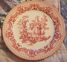 Rose Colored Pastoral Scene Transferware Plate by parkledge, $7.00