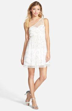 Junior Women's Hailey Logan One-Shoulder Glitter Mesh Dress