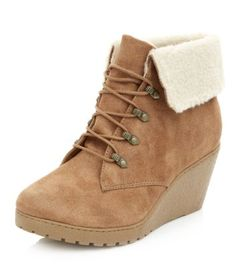 Teens Tan Faux Fur Cuff Wedge Boots Love these. I'd wear them with an oversized jumper, jeans or leggings and a scarf. Maybe a beanie/nerd glasses and a cute girly hair stylexx