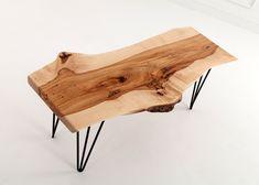 Hard Maple Wood Slab Table wood slab maple live edge natural edge table coffee table rustic custom furniture handmade hairpin reclaimed