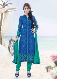 Design, style and pattern would be at the peak of your attractiveness once you dresses this blue cotton satin designer suit. The stunning embroidered and resham work throughout the attire is awe inspi. Salwar Kameez Online Shopping, Latest Salwar Kameez, Cotton Salwar Kameez, Churidar Suits, Indian Salwar Kameez, Indian Sarees Online, Dress Cuts, Diva Fashion, Indian Fashion