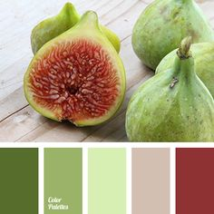brown, burgundy, coffee color, color combination, color of fruits flesh, colors of fig, colors of green fig, green, light green, selection of contrasting colors, shades of green, shades of light-green.