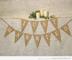 Ideas manualidades para decorar boda, guirnalda de recién casados