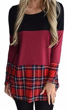 Long Sleeve Patchwork Plaid Top