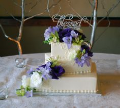 Ombre Purple Lilac Lavender Gorgeous Double Rose And Petals Wedding Cake