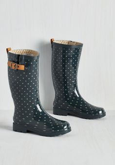 Puddle Jumper Rain Boot in Teal Dots. Be ready for whatever the weather brings your way with these deep teal rain boots! #green #modcloth