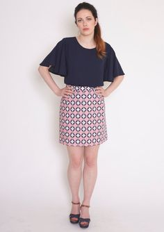 Mollie Brown cotton skirt Handmade from a cotton fabric in a white, navy and pink tile pattern, with an invisible zip to fasten at the back. Length...