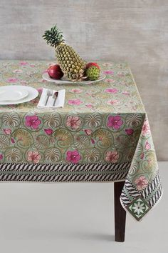 Charming handblock printed table linen featuring the flora and fauna of Kerala, 'god's own country.'  'Periyar' table linen from Good Earth