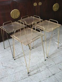 Mid Century Modern Atomic Nesting End Tables, Brass -mid century modern furniture