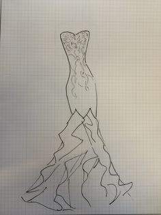 3 min. design sketch of sisters wedding gown.