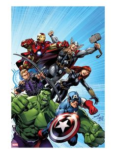 Avengers Assemble No.1 Cover: Captain America, Hulk, Black Widow, Hawkeye, Thor, and Iron Man