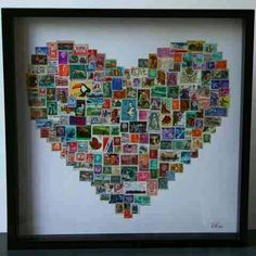 Heart art from layered postage stamps