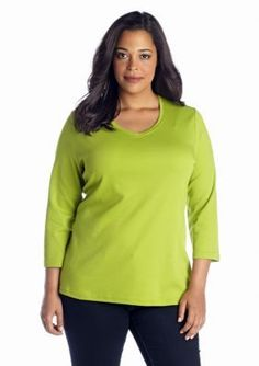 Kim Rogers  Plus Size Solid V Neck Top