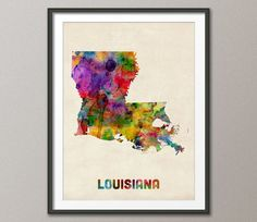 Louisiana Watercolor Map USA Art Print  12x16 up to by artPause, £12.99