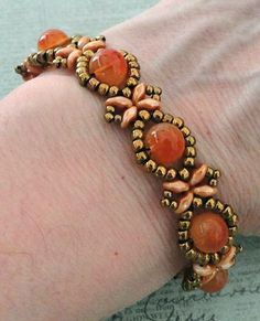 Linda's Crafty Inspirations: Bracelet of the Day: Sunflower Bracelet - Tangerine