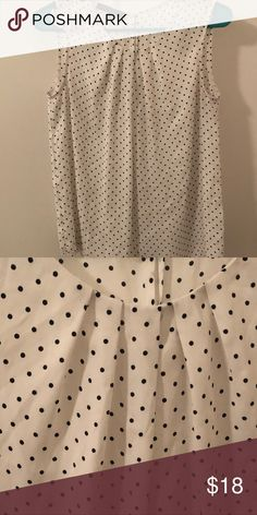 Black and White Polka Dot Blouse Black and white polka dot sleeveless blouse by Jones New York. Beautiful condition, looks really nice under a black blazer. Great for the office. Jones New York Tops Blouses