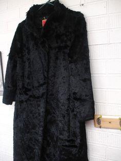de25461a39a Isaac Mizrahi 3 4 Length Long Coat Faux Fur Black Womens Formal Dress Goth  Vamp