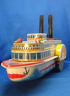 Vintage TM Modern Toy River Show Boat Tin Litho Steam Paddle Wheel Bo with Box