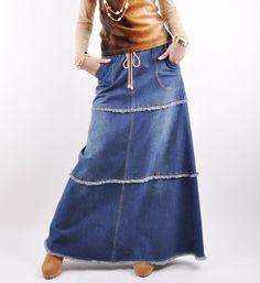 Feminine Fringe Long Jean Skirt  Lace Skirt #2dayslook #LaceSkirt #jamesfaith712 #sunayildirim  www.2dayslook.com