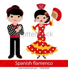 Flamenco woman with red dress and flamenco man