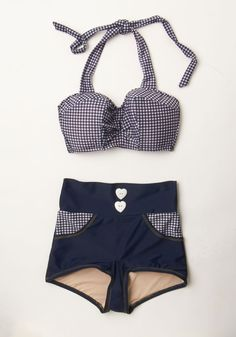 Cookout on the Coast Swimsuit Bottom. The beachside grill is fired up and so are you in the picnic-patterned style of these bikini bottoms. #blue #modcloth