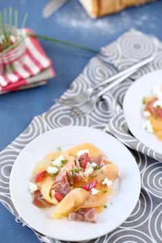 Carpaccio de melon, framboise, jambon cru et mozzarella