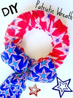 DIY Easy & frugal Patriotic Wreath Decor - simple enough for kids to craft. Good 4th of July idea!