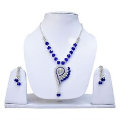 Attending party with same old boring #necklace. try this cool and funky Blue Crystel Silver Polish Designer Partywear Necklace set. Get it now online from Lucky jewellery . This #wedding season look stunning with this necklace set. #jewelry #fashion #style #summer http://ift.tt/267EyKx