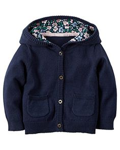 Carters Hooded Cardigan Navy 12 Months ** You can get more details by clicking on the image. (This is an affiliate link) #BabyGirlSweaters
