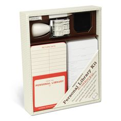 Knock Knock's Personal Library Kit is our bestselling gift, including return cards and book stamp for creating a home library. Top gift for book lovers.