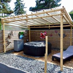 Discover the best bamboo pergola kits. Buy your Bamboo Pergola Moso 3 x 4 m at Bamboo Import Europe. Outdoor Pergola, Wooden Pergola, Backyard Pergola, Pergola Shade, Backyard Landscaping, Outdoor Dining, Pergola Roof, Pergola Lighting, Cheap Pergola