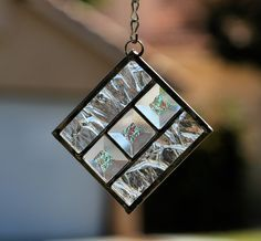 WINTER STARS - Stained Glass Christmas Ornament or Suncatcher with Clear Bevels