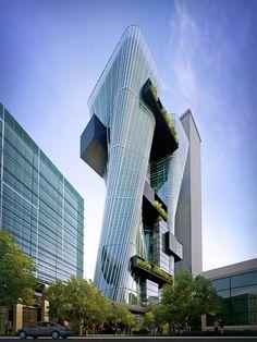 SYDNEY TOWERS Sydney NSW, Australia Proyecto: Urban Office Architecture  Memoria descriptiva:El concepto de diseño de las torres de oficinas 5 y 6 se expresa tanto a través de un giro vertical y la proyección hacia el exterior hacia el centro comercial público.