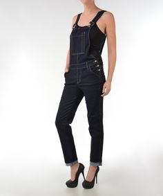 Look at this Dark Blue Cuffed Overalls - Women on #zulily today!