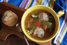 Chicken Meatball Soup -- a little grated apple is the secret to keeping these meatballs moist. Saute the veggies in broth (instead of butter) for Phase 1.