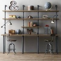 Creative diy pipe shelves design ideas Shoe Rack Another Great Place Where Shelves Are Particularly Useful Is The Home Office Nice Idea Is To Build Shelving Unit To Also Incorporate The Desk Or Work Deavitanet Industrial Pipe Shelving True Form Builders Industrial Home Offices, Industrial Home Design, Industrial Shelving, Industrial House, Industrial Bedroom, Industrial Pipe Desk, Industrial Windows, Industrial Restaurant, Industrial Farmhouse