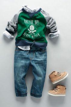 Toddler boys' fashion | Kids' clothes | Active fleece sweatshirt | Denim | Button-down shirt | Sneakers | The Children's Place
